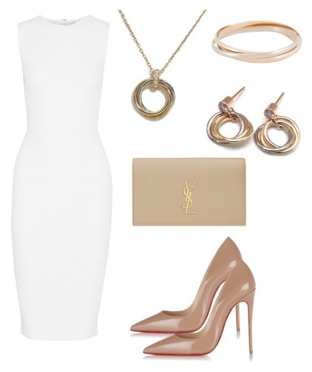 """Elegance & chic"" by taniaisabel-1 on Polyvore featuring Victoria Beckham, Christian Louboutin, Yves Saint Laurent and Cartier"