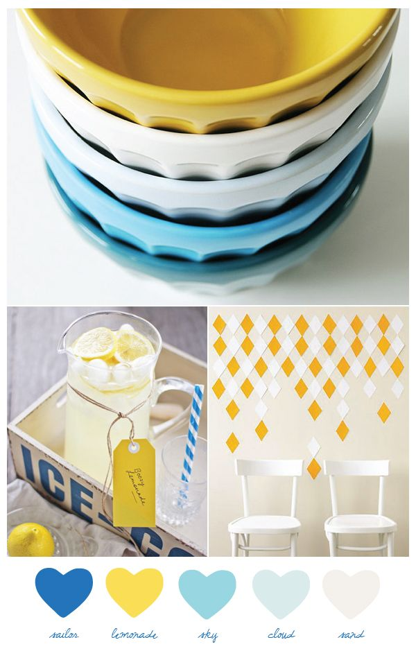 blue and yellow: Colors Pallets, Colors Combos, Color Palettes, Kitchens Colors, Sweetest Occa, Colors Palettes, Colors Schemes, Wedding Colors, Summer Colors