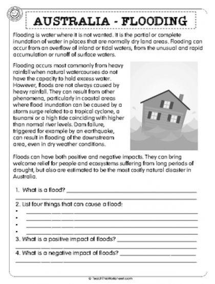 australia flooding 2pg natural disasters reading comprehension worksheets comprehension. Black Bedroom Furniture Sets. Home Design Ideas