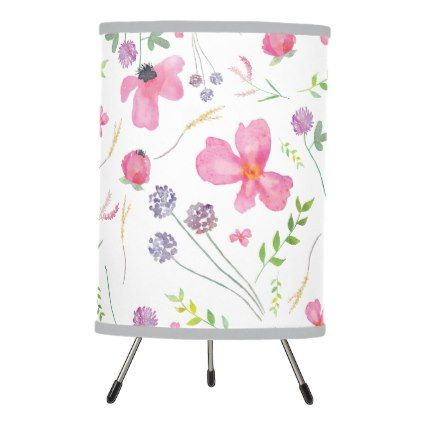 Floral Watercolor Tripod Table Lamp - watercolor gifts style unique ideas diy