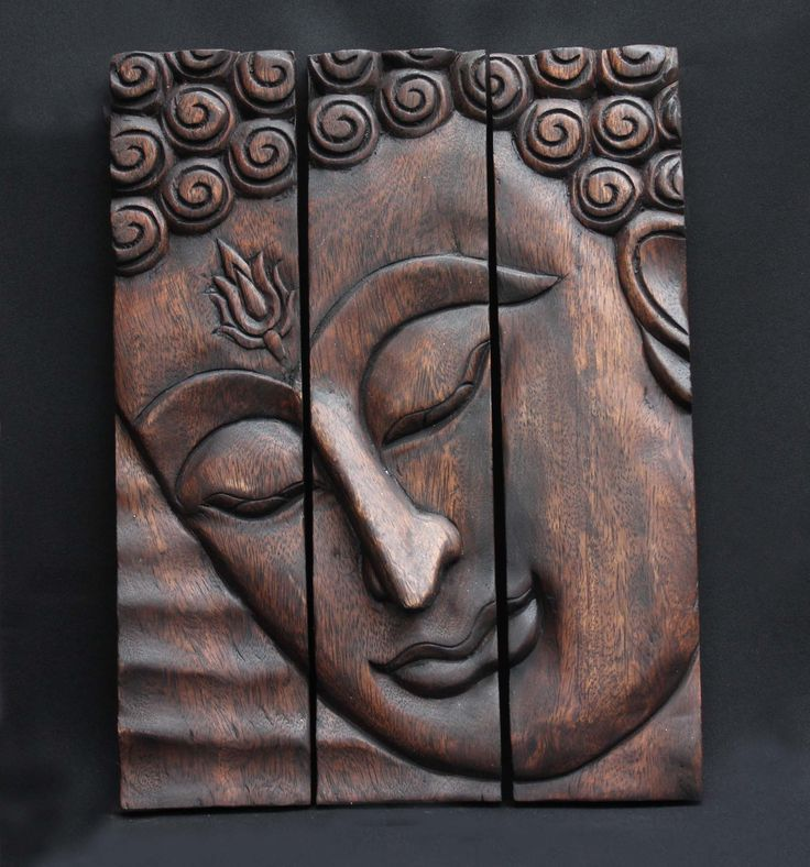 Hand carved wood the buddhas face a wall art hanging panels home decoration