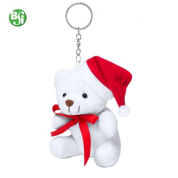 Orsetto in peluche con cappello di Babbo Natale e portachiavi in metallo.  #orsetto #peluche #christmas #gift #gadgetpersonalizzati