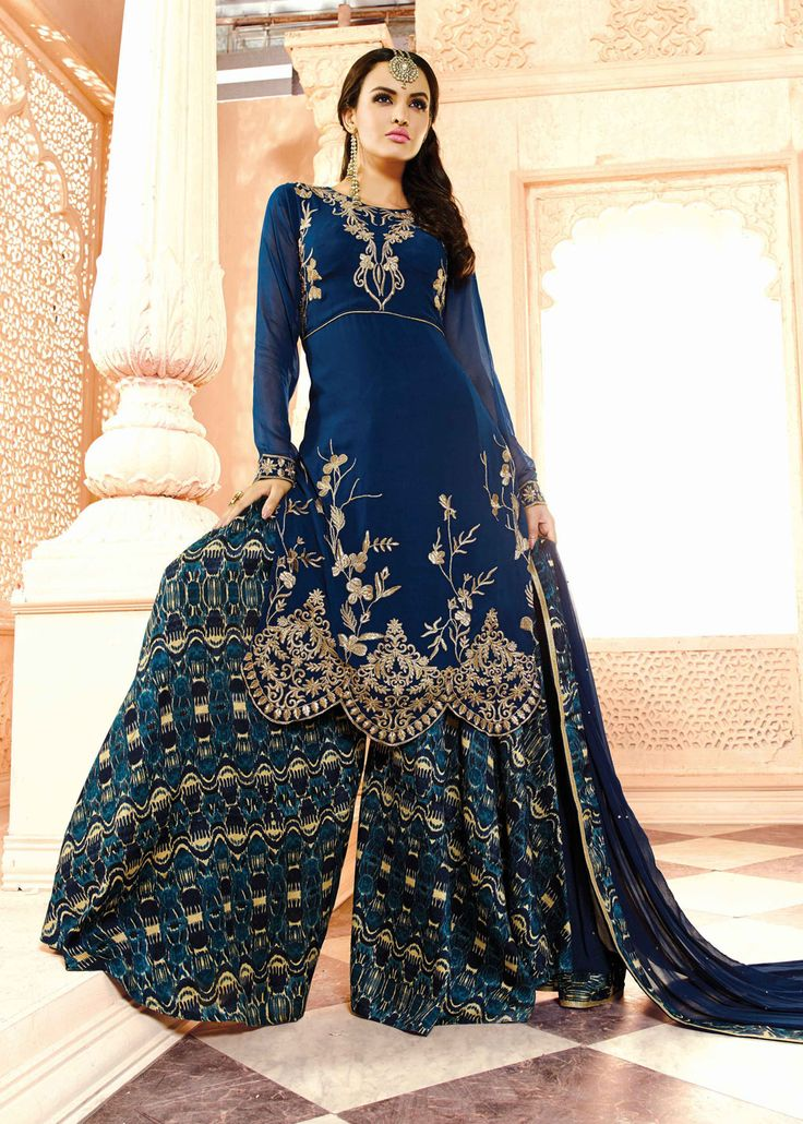 Navy Blue Georgette Kameez With Palazzo Pant 63475