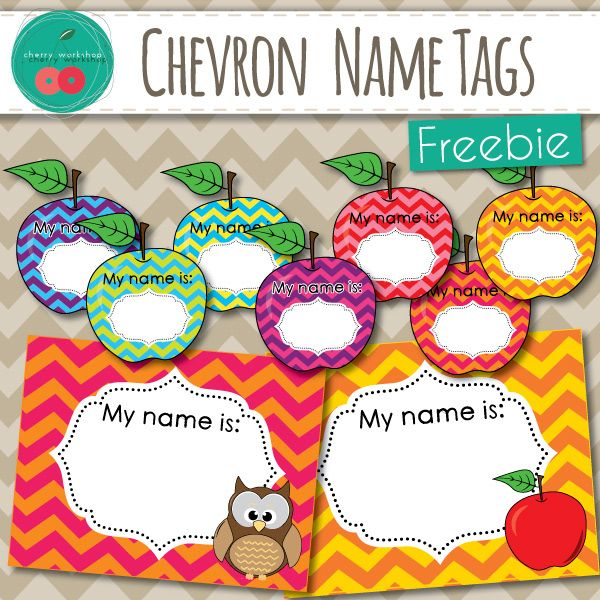 FREE Name Tags beautiful chevron owl and apples