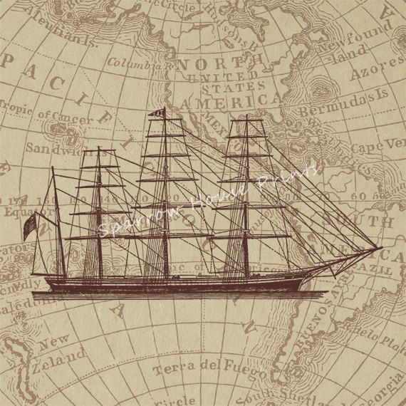 Antique Ship Wall Art Boat Home Decor Vintage Print with Vintage Map Background No.165 B52 8x8 8x10 11x14