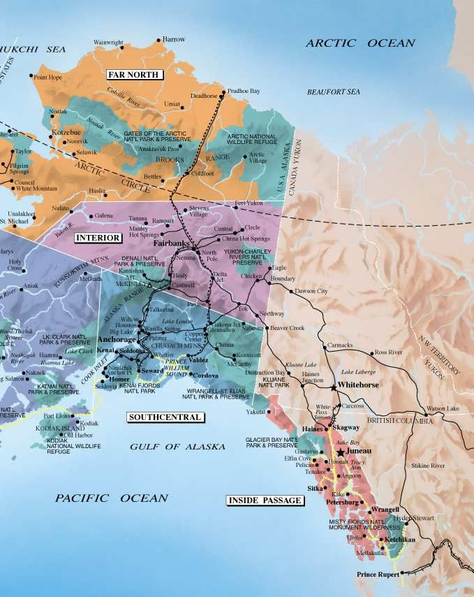 Two State Road Maps For Alaska Showing Major Roads And Highways There Aren T Any Minor Ones