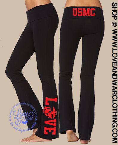 LOVEANDWARCLOTHING - USMC Love flared yoga pants, $34.95 (http://www.loveandwarclothing.com/usmc-love-flared-yoga-pants/)