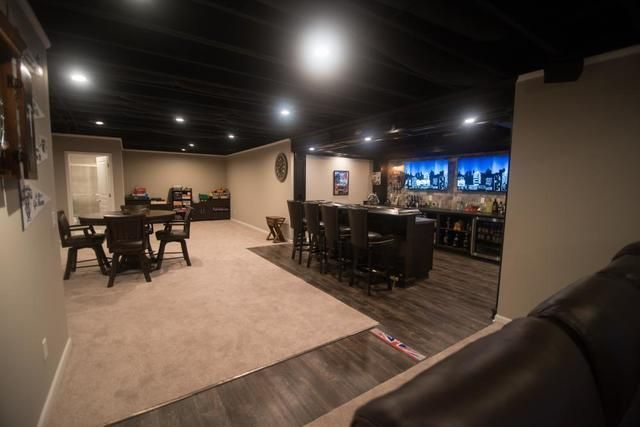 Black Painted Ceiling Vs White Painted Ceiling Finished Basements Plus Basement Ceiling Painted Black Basement Ceiling Basement Colors