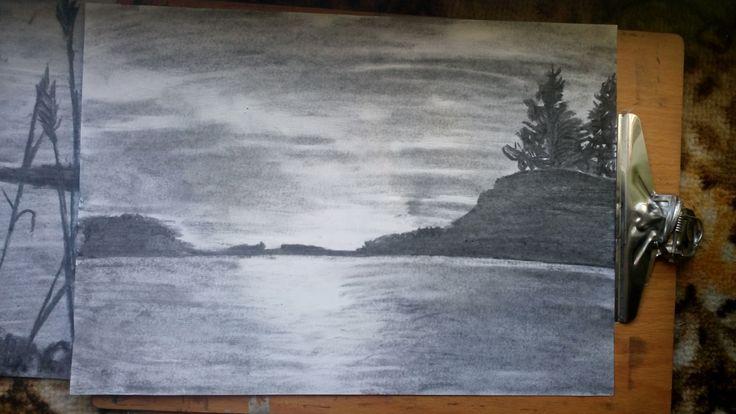 sun set, water, hills / nature / Drawing