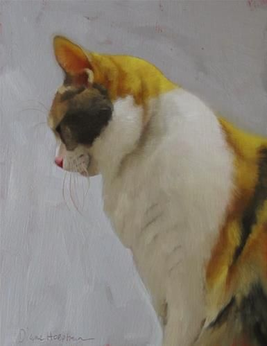 """Daily Paintworks - """"Matilda, painting of Calico cat"""" - Original Fine Art for Sale - © Diane Hoeptner"""