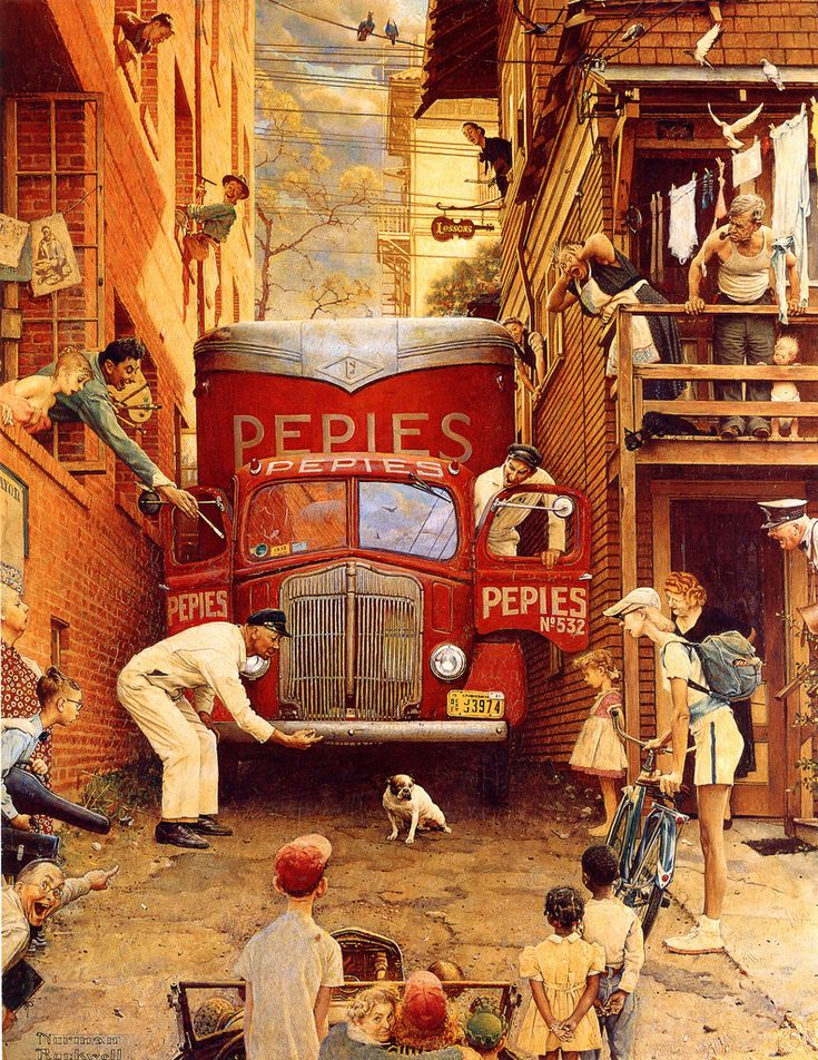 Norman Rockwell - The Roadblock 1949. Always been a big fan of Norm's.