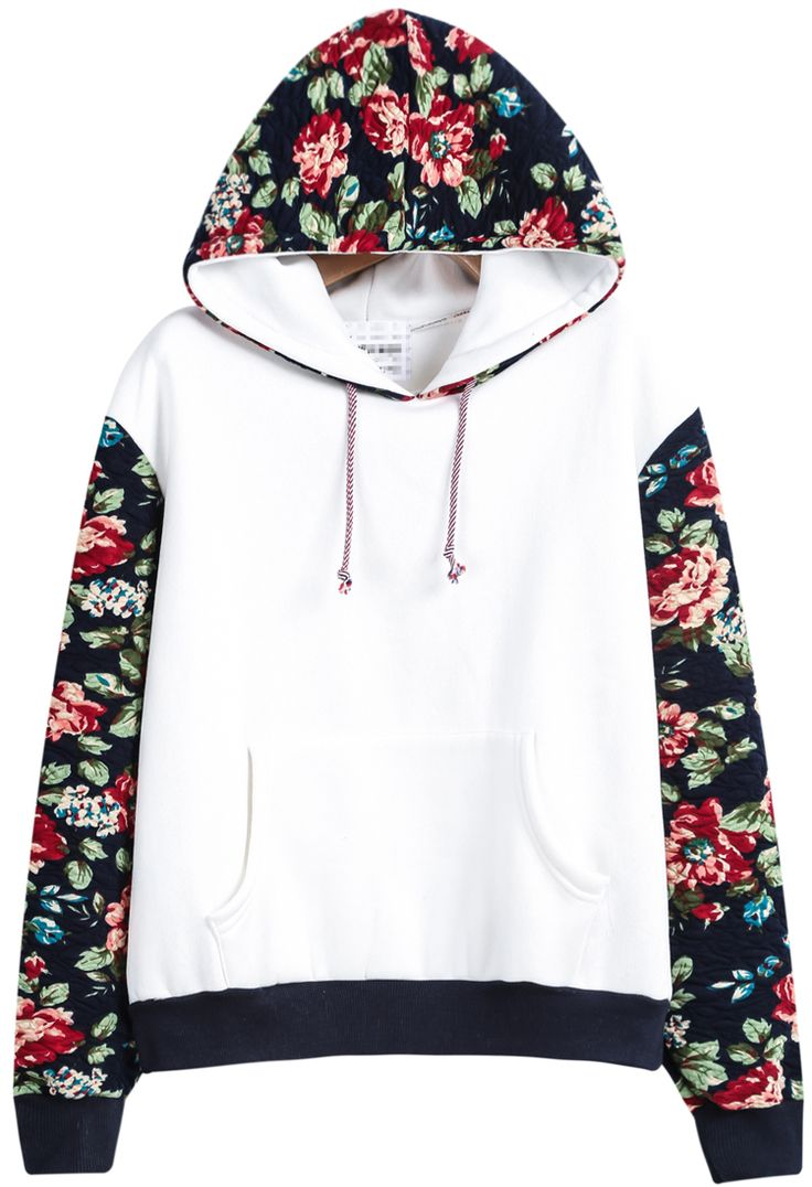 Sudadera con capucha contraste floral manga larga-blanco 19.62