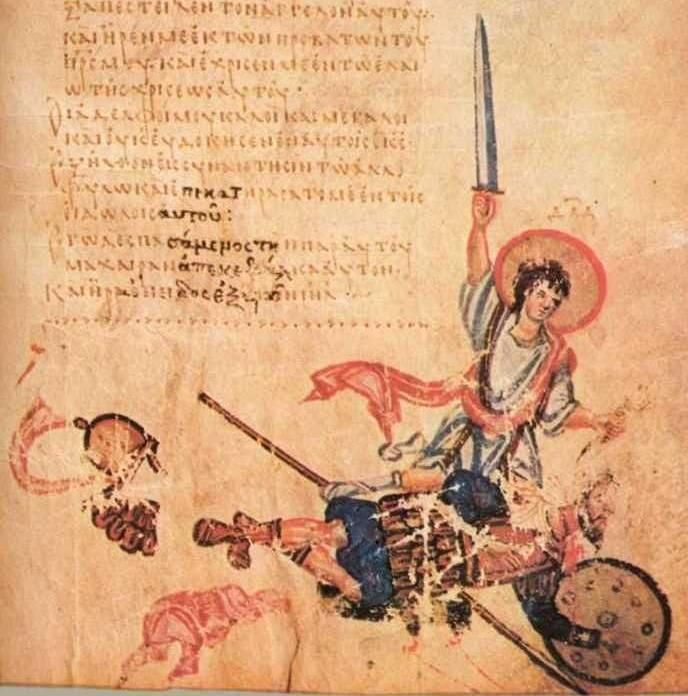 David beheads Goliath, Psalm-151, Chludov Psalter, Byzantine, 9th century, Moscow, Historical Museum MS 129