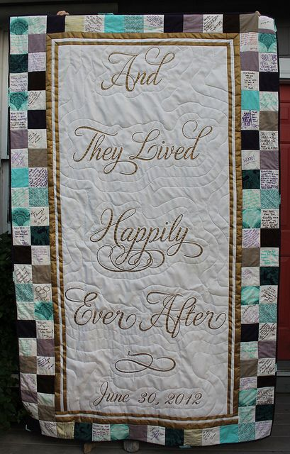 Happily Ever After Wedding Signature Quilt by DanaK~WaterPenny, via Flickr