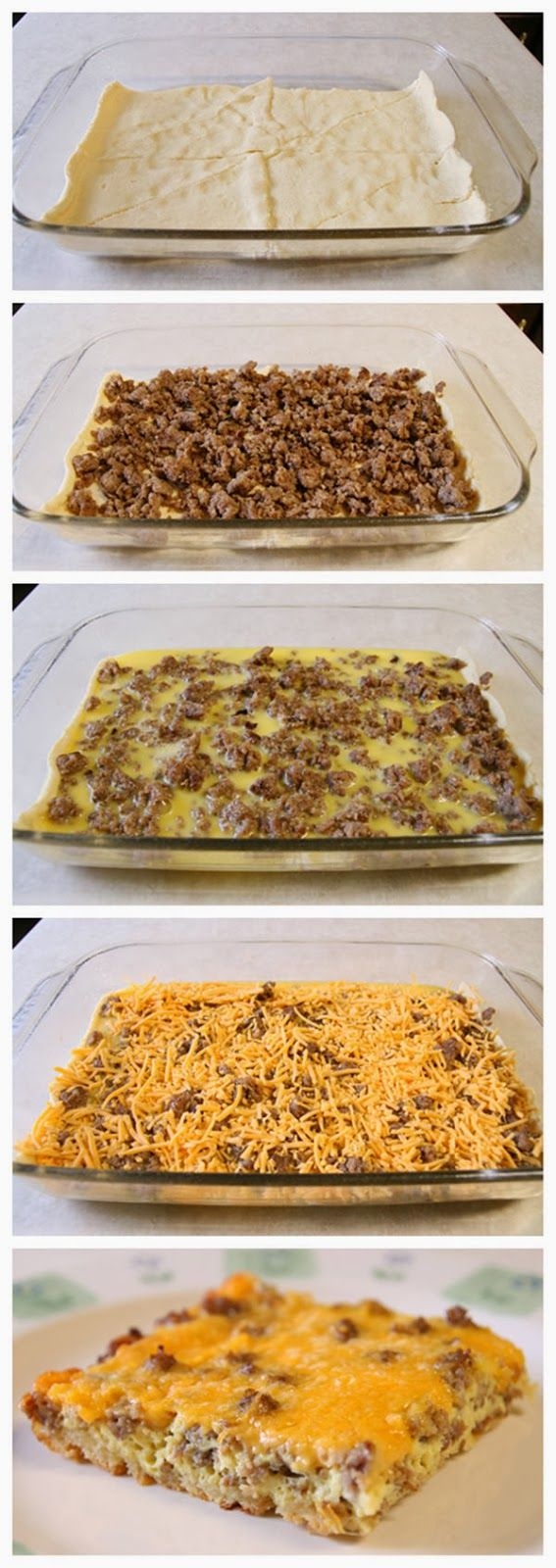 Breakfast Casserole. ♦♦♦ •1 pkg croissant rolls  •1 lb mild sausage   •6 eggs, beaten  •2 cups shredded cheddar cheese  ♦♦♦    Preheat oven to 350. Spray 9×13 baking dish with Pam. Brown sausage in skillet. Spread croissant dough in bottom of 9×13 dish. Add sausage, then pour eggs over sausage. Generously top with cheese. Bake at 350 for 30 minutes.
