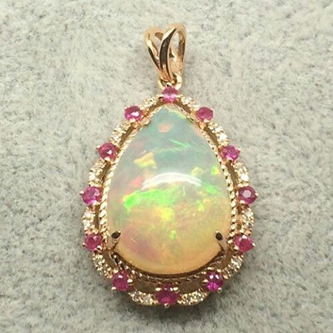 "31 Likes, 5 Comments - Suma Boutique (@sumagemboutique) on Instagram: ""_ 3.90 Carats Solid 18K Rose Gold Natural Colorful Opal with Diamond & Ruby Fine Pendant  Main…"""