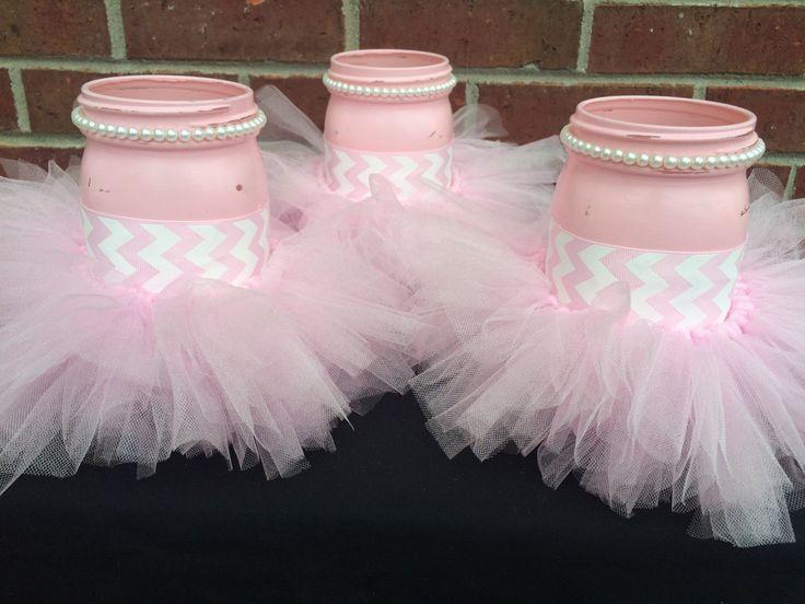 Marvelous Itu0027s A GIRL Baby Shower Centerpiece~Set Of 3 Pink Mason Jars~Pink Tutu