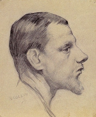 Portrait of a man in profile by Helene Schjerfbeck drawing