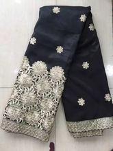 Neueste beliebte designs Gold pailletten stoff 5 Yards Afrikanisches Spitzegewebe hohe qualität indische seide George spitze stoff schwarz (TT18(China (Mainland))