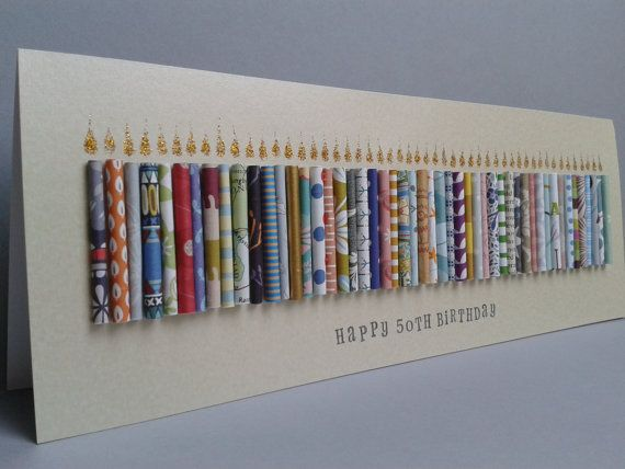 Large Happy 50th Birthday Candle Card Can be by TheGurdCardShop
