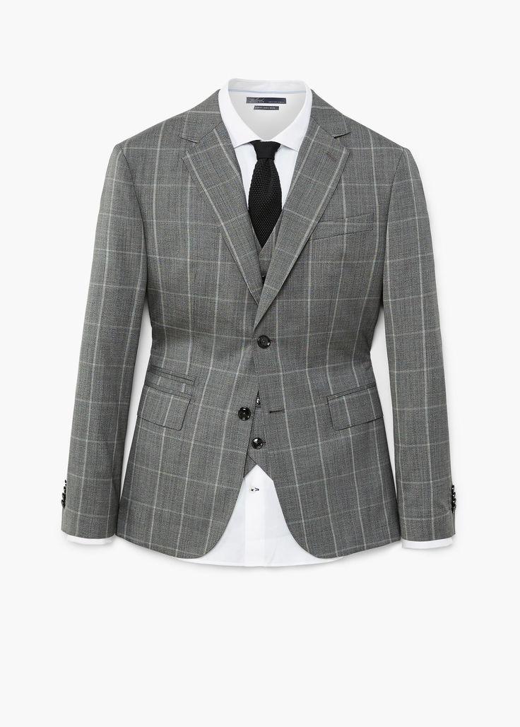 Americana traje slim-fit lana cuadros - Trajes de Hombre | MANGO Man España