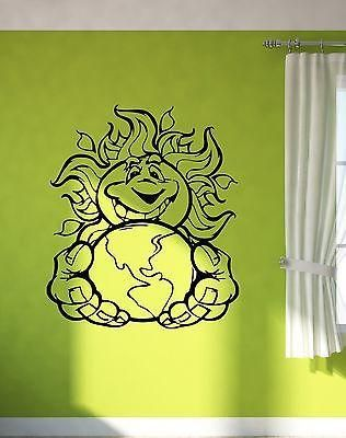 Wall Decal Sun Planet Earth Solar System Animation Smile Vinyl Stickers Unique Gift (ed290)