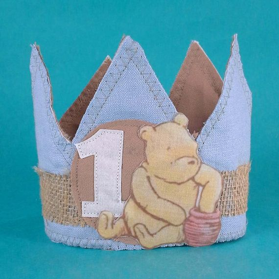 Shabby Chic classic Pooh Bear birthday crown by Hartranftdesign