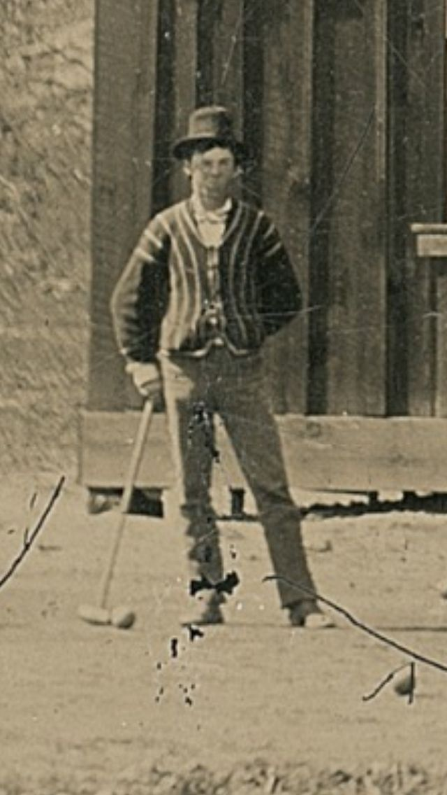 William H. Bonney, Billy the Kid, playing croquet after Charlie Bowdre's wedding in 1878.