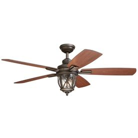 allen + roth Castine 52-in Rubbed Bronze Downrod or Close Mount Indoor/Outdoor Ceiling Fan with Light Kit and Remote Control