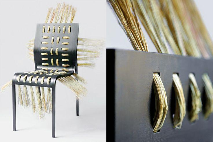 STRAW CHAIR - aluminium, straw