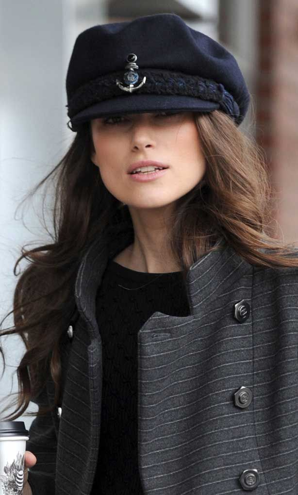 910ad1c5be9 Keira Knightley was spotted at the 2018 Sundance Film Festival wearing a  fun Chanel Sailor Cap but it was so big the British actress could hardly  see out of ...