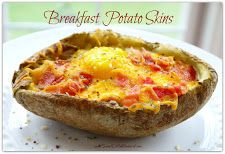 This Week's Recipe ~ Breakfast Potato Skins ~ Bacon Egg & Cheese
