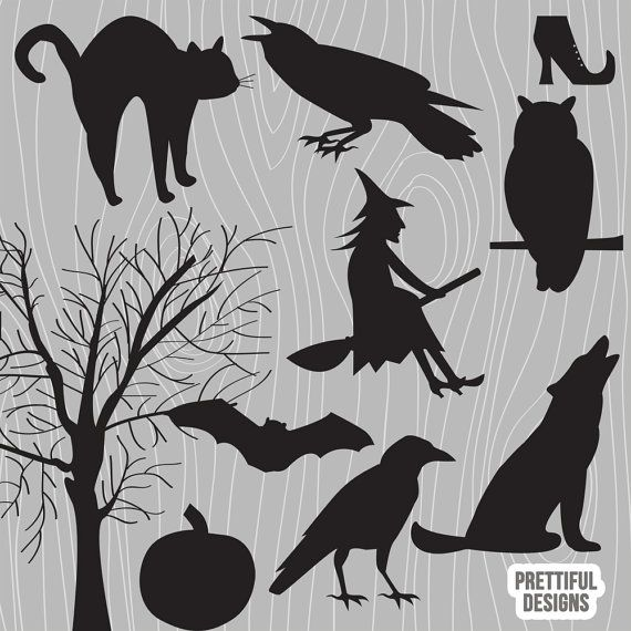Vector Silhouettes - Crow, Witch, Owl, Howling Wolf, Raven, Black Cat, Spooky Tree, Pumpkin, Bat, Witch Boot