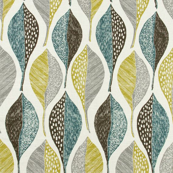 Aqua Grey Abstract Upholstery Fabric - Yellow Grey Large Scale Cotton Curtain Material -  Aqua Blue Leaf Fabric for Roman Shades and Pillows