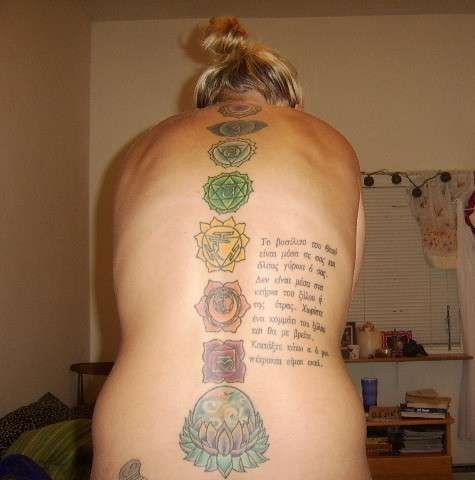 """Chakras Tattoo - the writting is in greek: """"the kingdom of god is within you and all around you. not within buildings of wood or stone. split a log and you will find me. lift a stone and ill be there."""""""