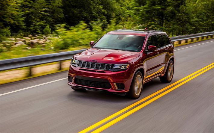 Descargar fondos de pantalla Jeep Grand Cherokee Trackhawk, 2018 autos, SUVs, carretera, Jeep