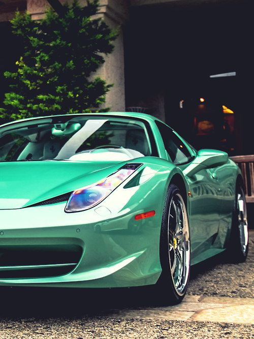 Love this green Ferrari 458 Spider!! Inspired by Eric #Bompard