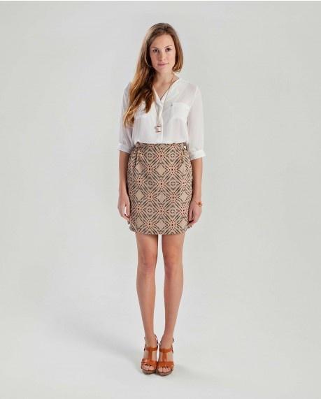 Collarless 3/4 sleeve blouse $52.50