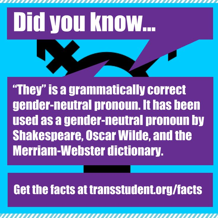 "Singular ""they"" is a correct gender-neutral pronoun! Don't let anyone tell you otherwise.  Learn more. Click here to retweet. Click here to share on Facebook."