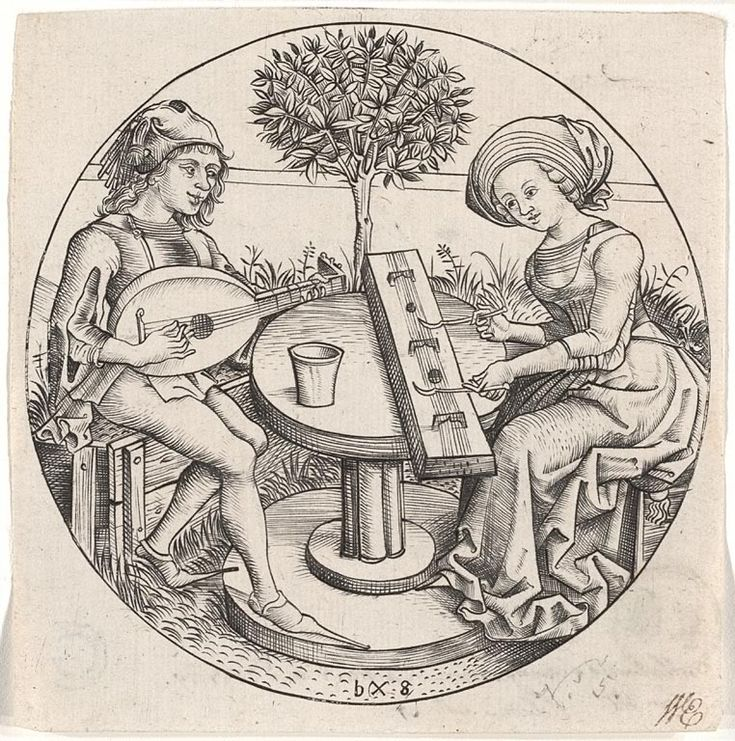 The music making couple - Attributed to Master bxg , active c. 1470-1490