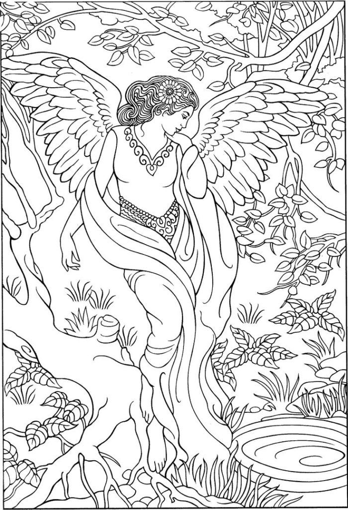 Angel In Forest Coloring Page For Adults Angel Coloring Pages