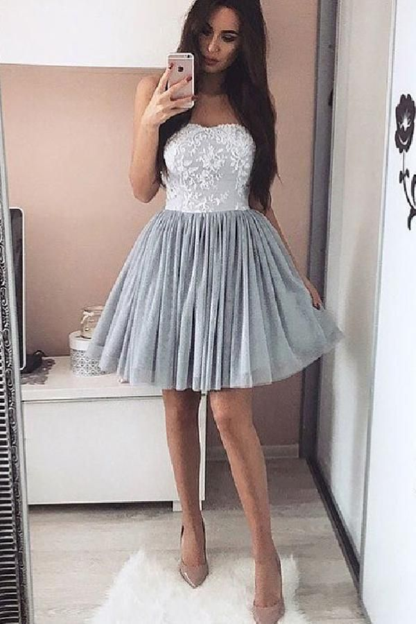 Grey Short Lace Formal Dresses for Teenagers