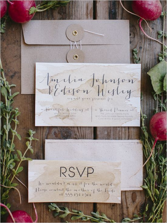 calligraphy and water stains give these invitations a vintage, farm house feel that's not too stuffy yet not too casual.  visit www.trixandtrumpet.com for more inspiration.