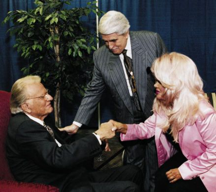 Rev Billy Graham greets Paul and Jan Crouch of the TBN Network