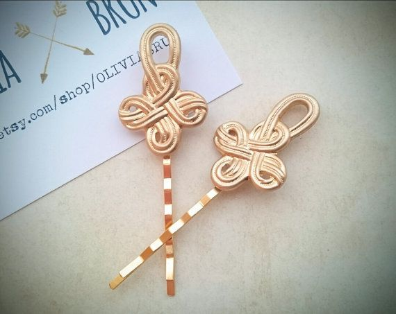 Celtic Knot Bobby Pins Gold Celtic Knot Hair Pins by OLIVIABRUN