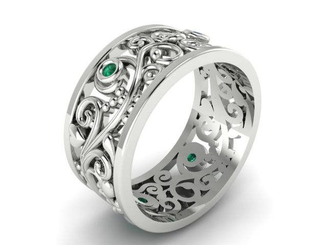 Natural Emeralds Wedding Band, Leaf and vine Emerald ring, White gold custom made Engagement Rings