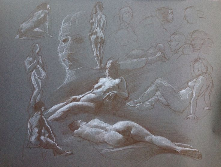 Sketches, by Cyprian Libera, color pencil and chalk on toned paper, 18 x 24""