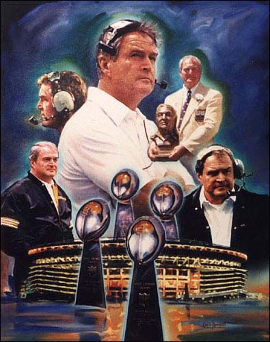 Coach Chuck Noll- One of the Best Coaches ever!!  He was the Pittsburgh Steelers' head coach for 23 seasons, from 1969 until 1991. Despite winning four Super Bowls, Noll was never selected NFL Coach of the Year  WHAT???