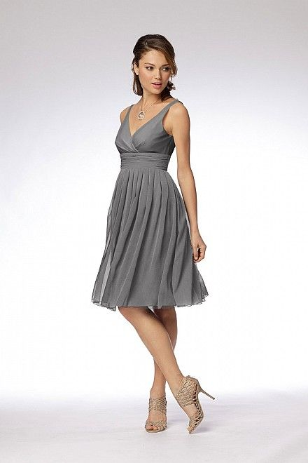 gray bridesmaid dress. color of top, band, and bottom all customizable