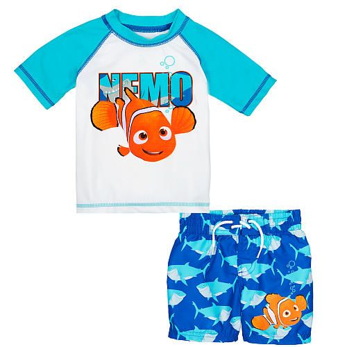 Disney Boys' 2 Piece Blue/White Finding Nemo Short Sleeve Rash Guard and Swim Trunks Set